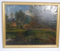 LARBE VICTORIAN GILT FRAMED OIL ON CANVAS OF A RUR