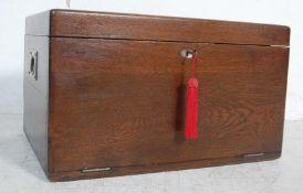 1930'S OAK RECTANGULAR CUTLERY CANTEEN BOX