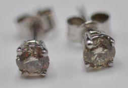 PAIR OF 14CT GOLD DIAMOND STUD EARRINGS