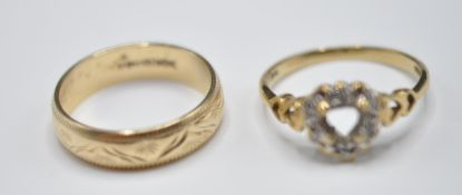 TWO 9CT GOLD RINGS INCLUDING ONE SET WITH DIAMONDS