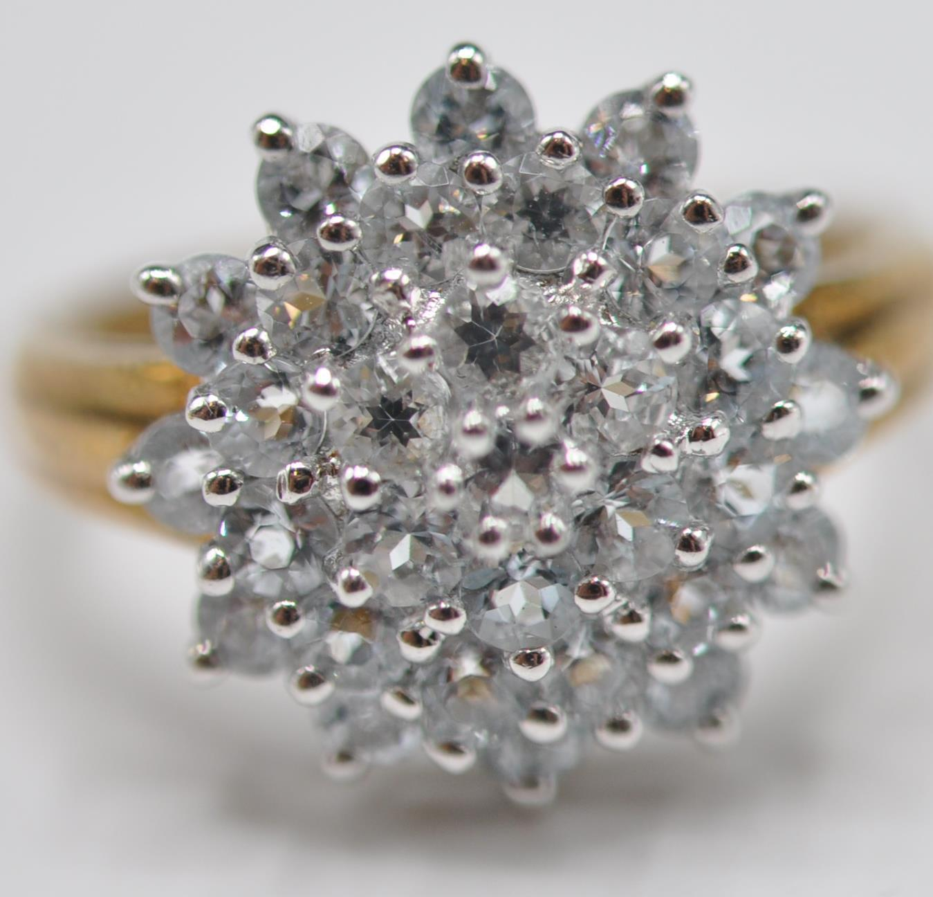 HALLMARKED 9CT GOLD AND BLUE STONE CLUSTER RING - Image 2 of 7