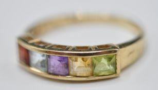 9CT GOLD FIVE STONE DIAMOND RING