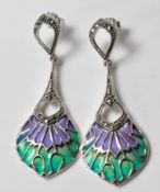 PAIR OF STAMPED 925 SILVER ART NOUVEAU STYLE DROP EARRINGS.