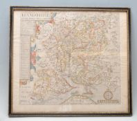 ANTIQUE 19TH CENTURY VICTORIAN MAP OF HAMSHIRE BY NORDEN & HOLE