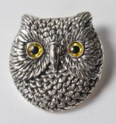 VINTAGE STYLE STERLING SILVER OWL BROOCH.