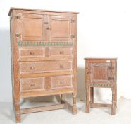 EARLY 20TH CENTURY LIMED OAK ARTS AND CRAFTS TALLBOY CHEST OF DRAWERS