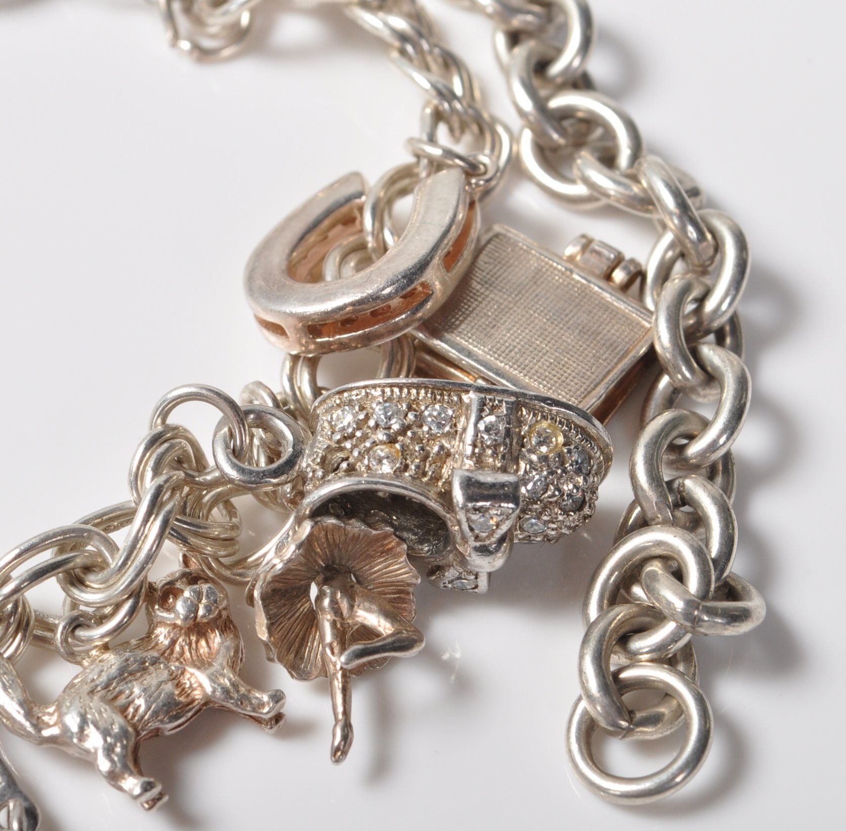 SILVER STAMPED 925 CHARM BRACELET. TOTAL WEIGHT 64 GRAMS. - Image 4 of 8