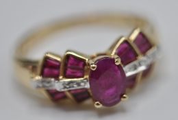 STAMPED 14CT GOLD ART DECO RUBY AND DIAMOND RING