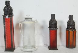 COLLECTION OF THREE ANTIQUE STYLE MOROCCAN LAMPS