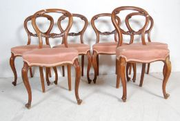 LONG RUN OF 10 VICTORIAN MATCHED BALLOON BACK DINING CHAIRS