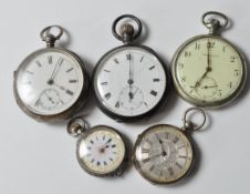 COLLECTION OF FIVE VINTAGE 20TH CENTURY POCKET WATCHES