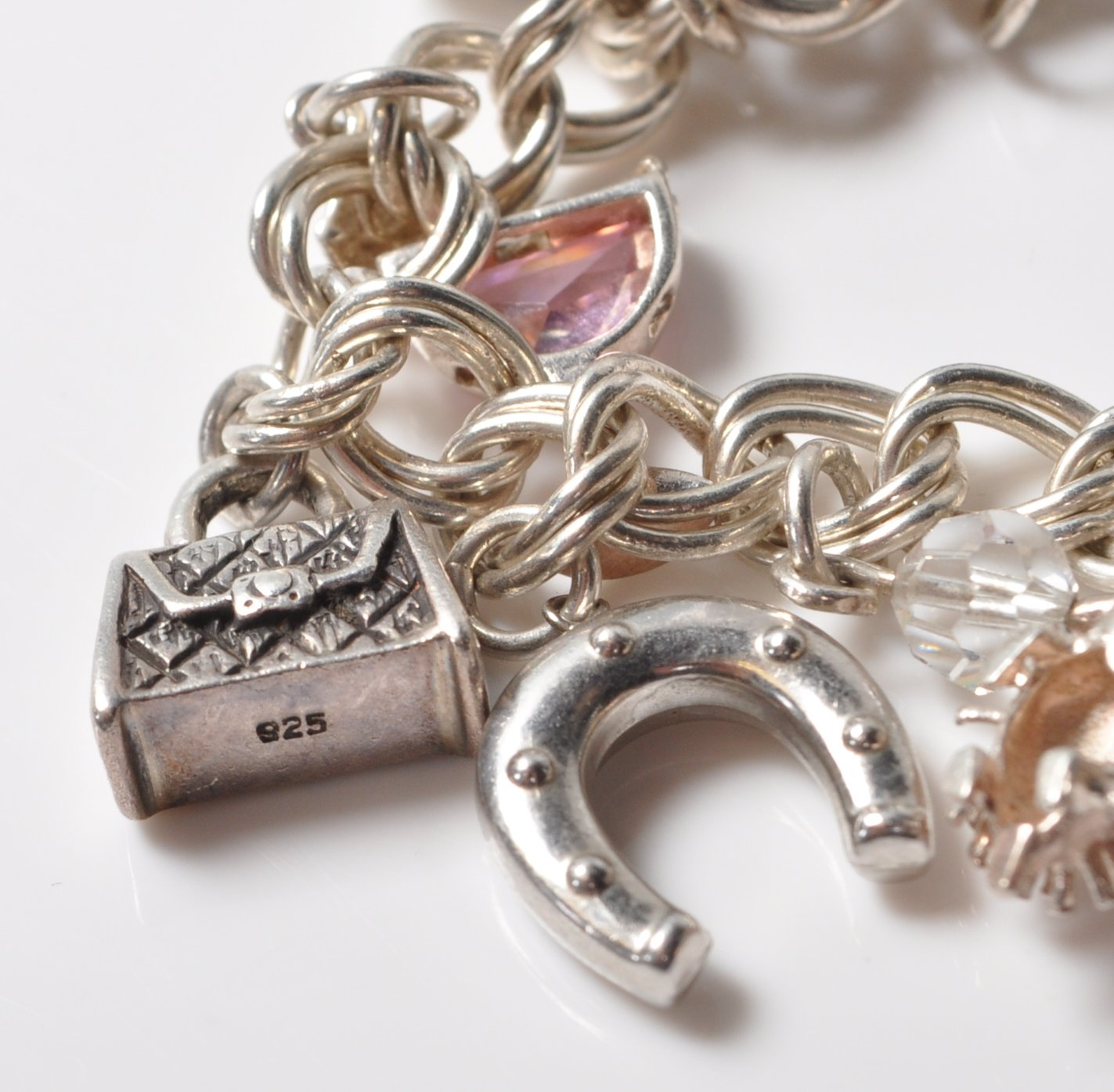 SILVER STAMPED 925 CHARM BRACELET. TOTAL WEIGHT 64 GRAMS. - Image 8 of 8