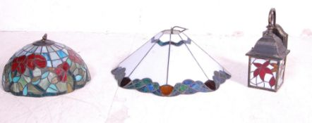 COLLECTION OF THREE VINTAGE TIFFANY STYLE LAMP SHADES