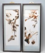 TWO JAPANESE SIGNED FEATHERS PICTURES