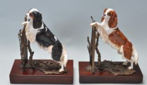 PAIR OF ALBANY FINE BONE CHINA LTD CO PORCELAIN AND BRONZE LIMITED EDITION PAIR OF DOGS