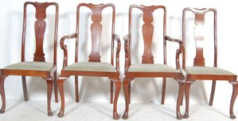 SET OF 4 EDWARDIAN MAHOGANY QUEEN ANNE DINING CHAIRS