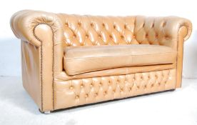 20TH CENTURY BROWN LEATHER CHESTERFIELD SOFS SETTEE