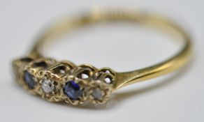 18CT GOLD AND PLATINUM DIAMOND AND BLUE STONE RING