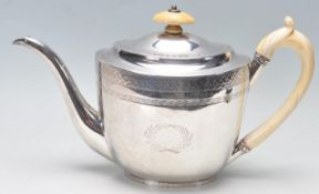 GEORGIAN THOMA ROBINS MADE SILVER TEA POT