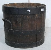19TH CENTURY OAK AND COOPERED CAST IRON PEAT BUCKET