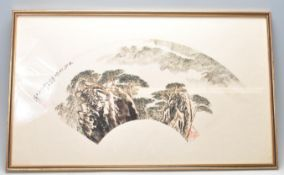 LU YIFEI - (1931-2005) INK ON PAPER PAINTING OF A PINE FOREST