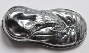 SILVER WHITE METAL VESTA CASE IN THE FORM OF AN OLD SHOE