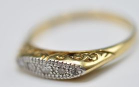 18CT GOLD AND PLATINUM WHITE STONE RING