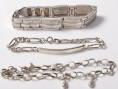 COLLECTION OF THREE SILVER STAMPED 925 BRACELETS.