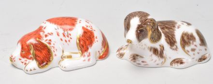 TWO ROYAL CROWN DERBY GOLD STOPPER DOG PAPERWEIGHTS
