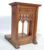 MID 20TH CENTURY GOTHIC OAK CARVED LECTERN STAND