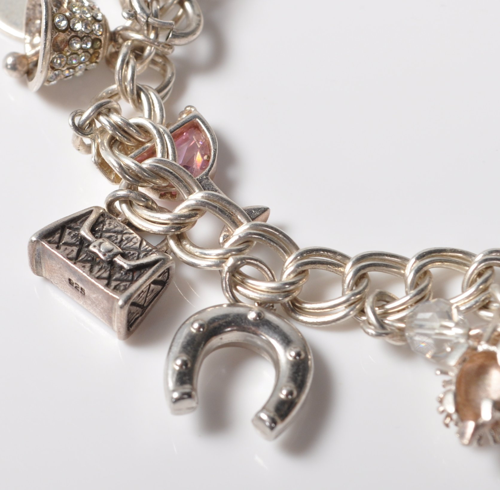 SILVER STAMPED 925 CHARM BRACELET. TOTAL WEIGHT 64 GRAMS. - Image 2 of 8