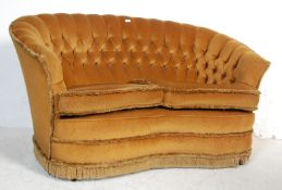 VICTORIAN STYLE YELLOW FABRIC TWO SEATER SOFA SETTEE