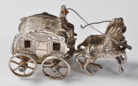 800 SILVER HORSE AND CARRIAGE FIGURINE