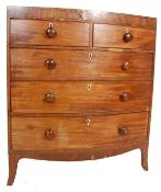 19TH CENTURY GEORGE III MAHOGANY BOW FRONT CHEST OF DRAWERS