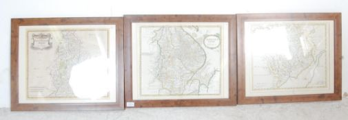 THREE HAND COLOURED OLD ENGLISH MAP PRINTS AFTER ROBERT MORDEN