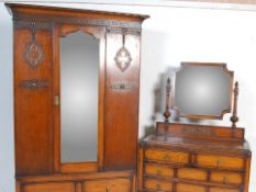 1920'S JACOBEAN REVIVAL OAK BEDROOM SUITE - WARDROBE ETC