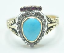 VICTORIAN TURQUISE, DIAMOND AND RUBY HEART RING
