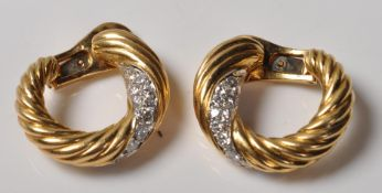 PAIR OF VINTAGE FRENCH 18CT GOLD AND DIAMOND EARRI
