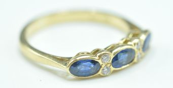 18CT GOLD SAPPHIRE & DIAMOND SEVEN STONE RING