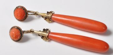 PAIR OF GEORGIAN GOLD AND RED CORAL DROP EARRINGS