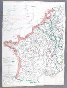 WWII SECOND WORLD WAR SILK ESCAPE MAP - FRANCE