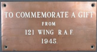 WWII SECOND WORLD WAR RAF ROYAL AIR FORCE LARGE PLAQUE
