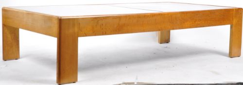 LARGE & IMPRESSIVE OAK AND SMOKEY GLASS TOPPED COFFEE TABLE
