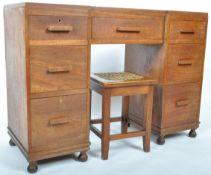 EARLY 20TH CENTURY SOLID TEAK ART DECO WORK DESK AND STOOL