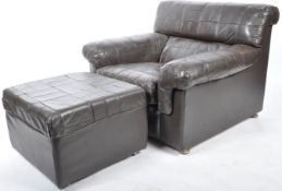 LEBUS BRITISH DESIGN PATCHWORK LEATHER ARMCHAIR AND FOOTSTOOL