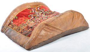 VINTAGE 20TH CENTURY LEATHER CAMEL SEAT / SADDLE FOOTREST