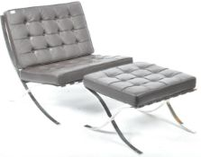 BARCELONA CHAIR AND MATCHING FOOTSTOOL IN BLACK LEATHER