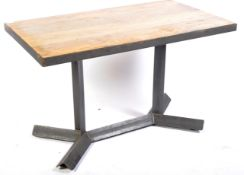 CONTEMPORARY INDUSTRIAL METAL FRAMED DINING TABLE