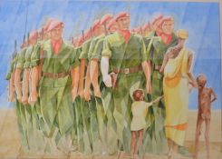 JS BEDFORD - ONWARD CHRISTIAN SOLDIERS - WATERCOLOUR PAINTING