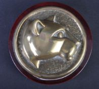 JAGUAR - 20TH CENTURY WOODEN & BRASS DESKTOP PAPERWEIGHT